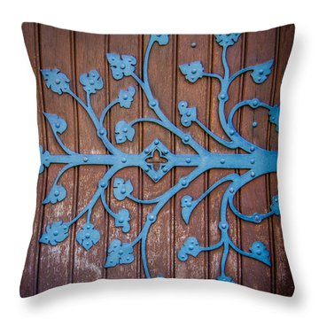 Ornate Church Door Hinge Throw Pillow by Mr Doomits