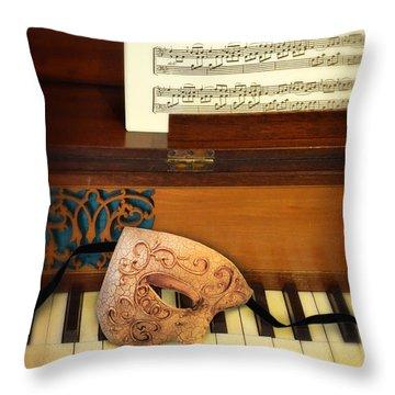 Ornate Mask On Piano Keys Throw Pillow by Jill Battaglia