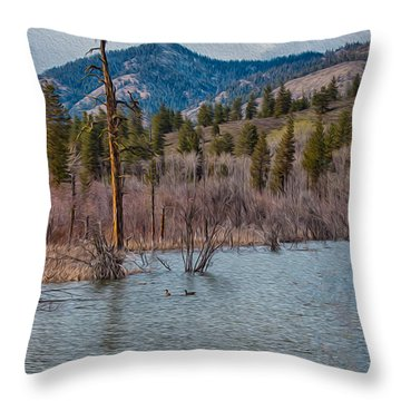Osprey Nest In A Beaver Pond Throw Pillow by Omaste Witkowski