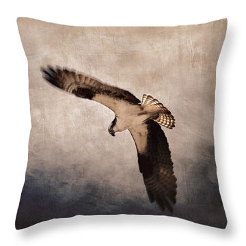 Osprey Over The Columbia River Throw Pillow by Carol Leigh