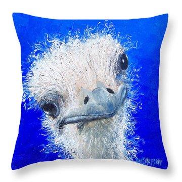 Ostrich Painting 'waldo' By Jan Matson Throw Pillow by Jan Matson