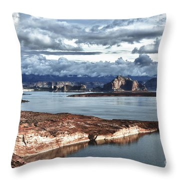Otherworldly Morning At Lake Powell Throw Pillow by Sandra Bronstein
