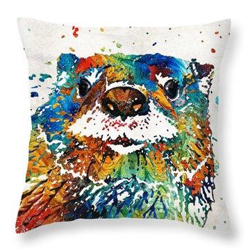 Otter Art - Ottertude - By Sharon Cummings Throw Pillow by Sharon Cummings