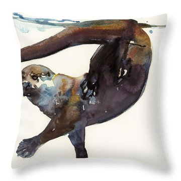 Otter Study II  Throw Pillow by Mark Adlington