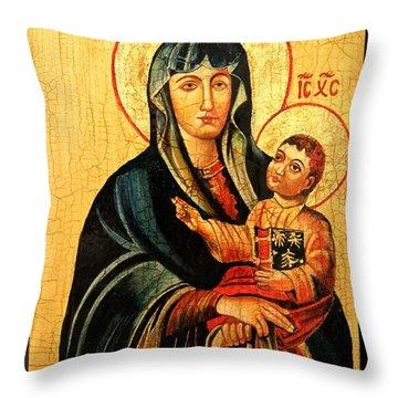 Our Lady Of Cieszyn Icon Throw Pillow by Ryszard Sleczka