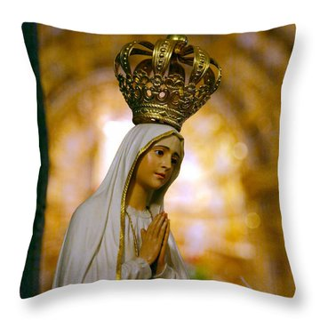 Our Lady Of Fatima Throw Pillow by Gaspar Avila