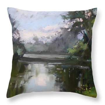 Outdoors At Hyde Park Throw Pillow by Ylli Haruni