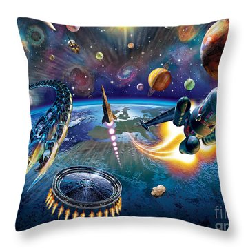 Outer Space Throw Pillow by Adrian Chesterman