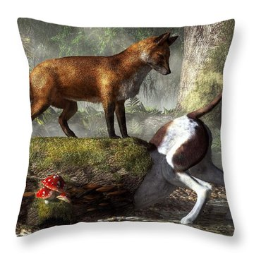 Outfoxed Throw Pillow by Daniel Eskridge