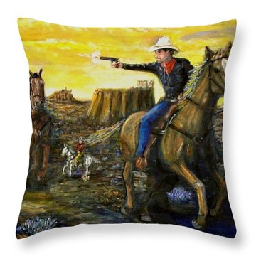 Outlaw Trail Throw Pillow by Larry E Lamb