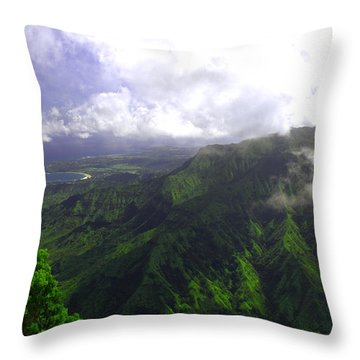 Overlooking Hanalei Bay Throw Pillow by Brian Harig