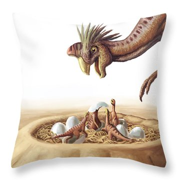 Oviraptor And Nest Throw Pillow by Spencer Sutton