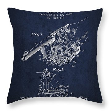 Owen Revolver Patent Drawing From 1899- Navy Blue Throw Pillow by Aged Pixel