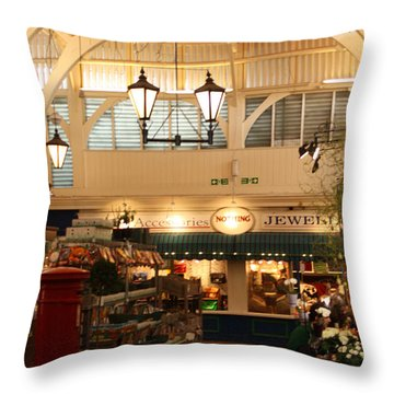 Oxford's Covered Market Throw Pillow by Terri Waters