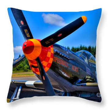 P-51 Mustang - Speedball Alice Throw Pillow by David Patterson