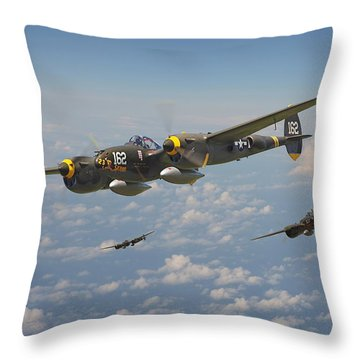 P38 Lightning - Pacific Patrol Throw Pillow by Pat Speirs