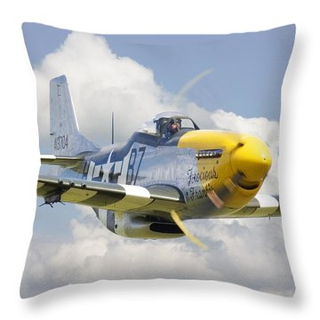 P51 Ferocious Frankie Throw Pillow by Pat Speirs