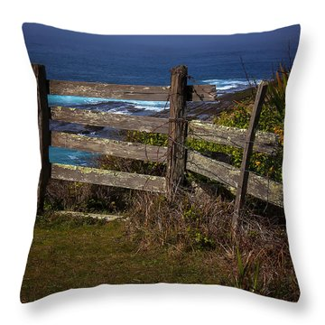 Pacific Coast Fence Throw Pillow by Garry Gay