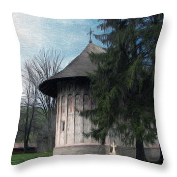 Painted Monastery Throw Pillow by Jeff Kolker