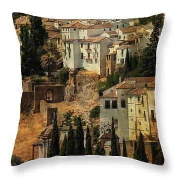 Painted Ronda. Spain Throw Pillow by Jenny Rainbow