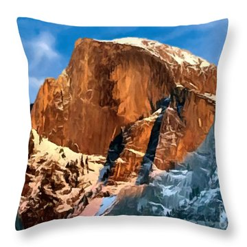 Painting Half Dome Yosemite N P Throw Pillow by Bob and Nadine Johnston