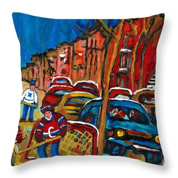 Paintings Of Montreal Hockey City Scenes Throw Pillow by Carole Spandau