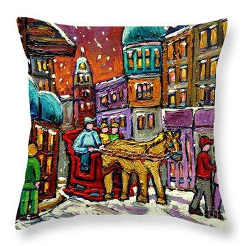 Paintings Of Old Quebec Magical Vieux Port Montreal City Scenes Caleche In Winter Carole Spandau Throw Pillow by Carole Spandau