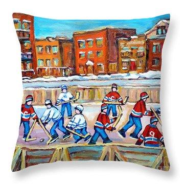 Paintings  Verdun Rink Hockey Montreal Memories Canadiens And Maple Leaf Hockey Game Carole Spandau Throw Pillow by Carole Spandau