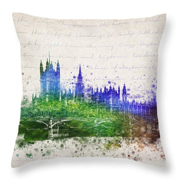 Palace Of Westminster Throw Pillow by Aged Pixel