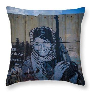 Palestinian Graffiti Throw Pillow by David Morefield