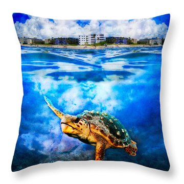 Palm Beach Under And Over Throw Pillow by Debra and Dave Vanderlaan