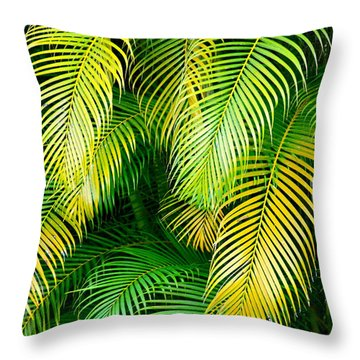 Palm Leaves In Green And Gold Throw Pillow by Karon Melillo DeVega