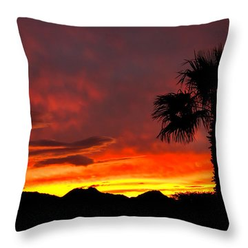 Palm Tree Silhouette Throw Pillow by Robert Bales