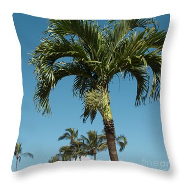 Palm Trees And Blue Sky Throw Pillow by Sharon Mau