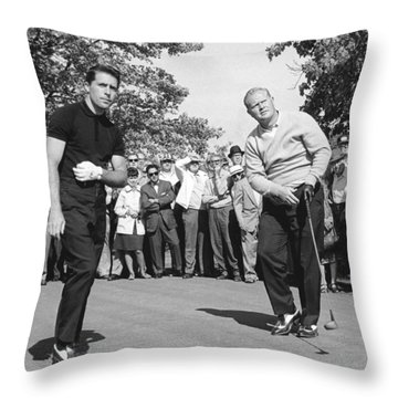 Palmer, Player And Nicklaus Throw Pillow by Underwood Archives