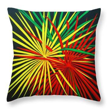 Palms Bursting Throw Pillow by Roseann Gilmore
