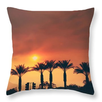 Palms On Fire Throw Pillow by Laurie Search