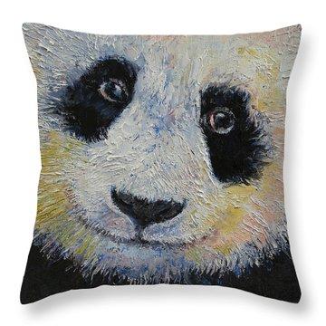 Panda Smile Throw Pillow by Michael Creese