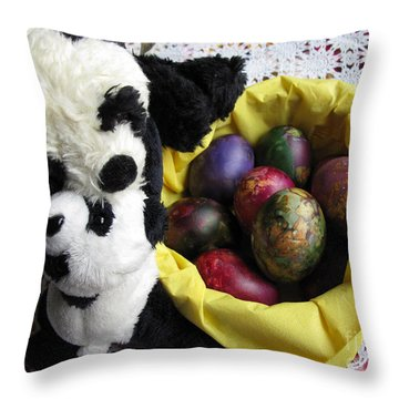 Pandas Celebrating Easter Throw Pillow by Ausra Huntington nee Paulauskaite