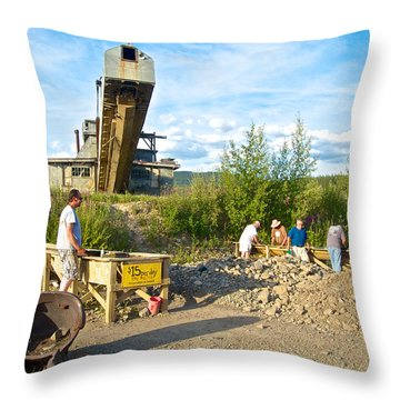 Panning For Gold In Chicken-ak- Throw Pillow by Ruth Hager