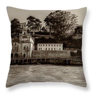 Panorama Alcatraz Torn Edges Throw Pillow by Scott Campbell