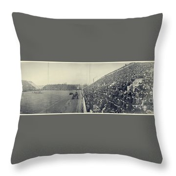 Panoramic Photo Of Harvard  Dartmouth Football Game Throw Pillow by Edward Fielding