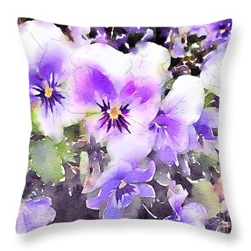 Pansies Watercolor Throw Pillow by John Edwards