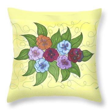 Pansy Posy Throw Pillow by Susie WEBER