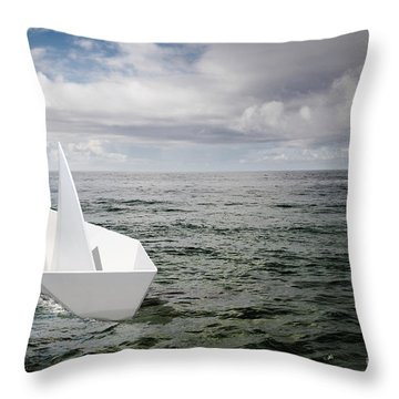 Paper Boat Throw Pillow by Carlos Caetano