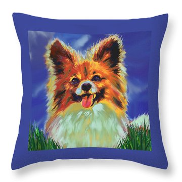 Papillion Puppy Throw Pillow by Jane Schnetlage