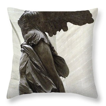 Paris Angel Louvre Museum- Winged Victory Of Samothrace Throw Pillow by Kathy Fornal