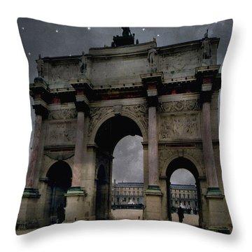 Paris Arc Du Carousel - Louvre Museum Arc De Triomphe - Starry Night Blue Paris Louvre Courtyard Throw Pillow by Kathy Fornal
