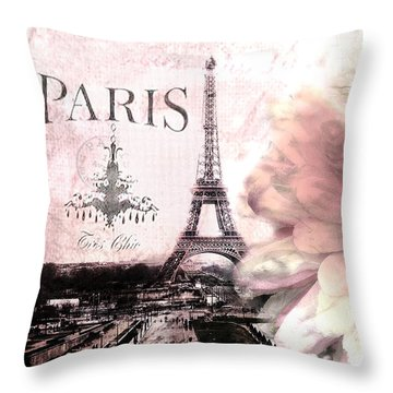 Paris Dreamy Eiffel Tower Montage - Paris Romantic Pink Sepia Eiffel Tower And Flower French Script Throw Pillow by Kathy Fornal
