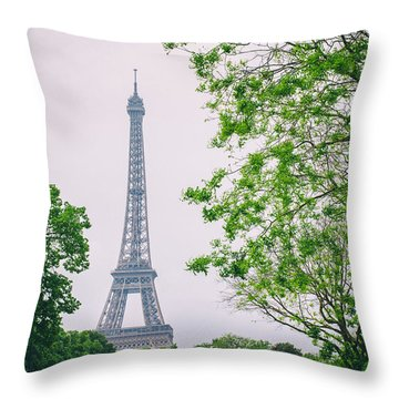 Paris Eiffel Surrounded By Trees Throw Pillow by Georgia Fowler